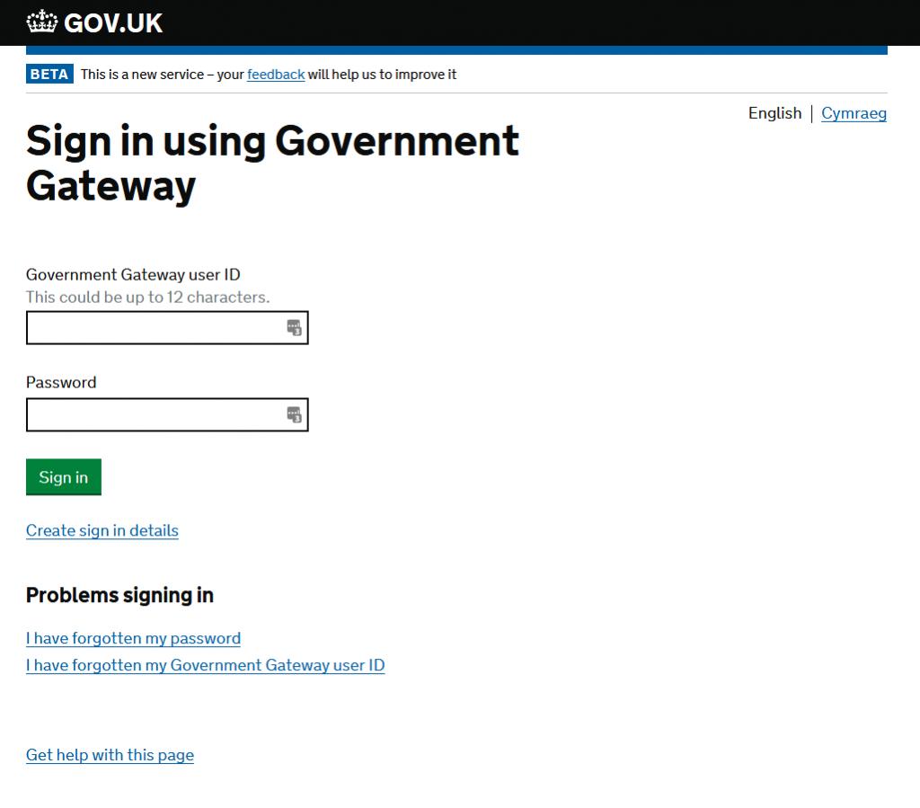 HMRC portal login page