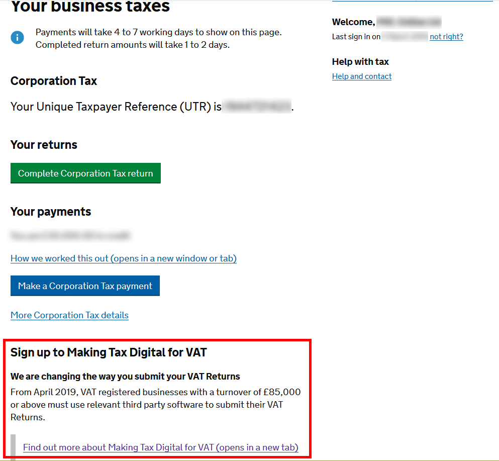 Business taxes - sign up to MTD