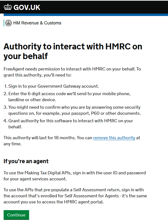 Give FreeAgent authority to HMRC